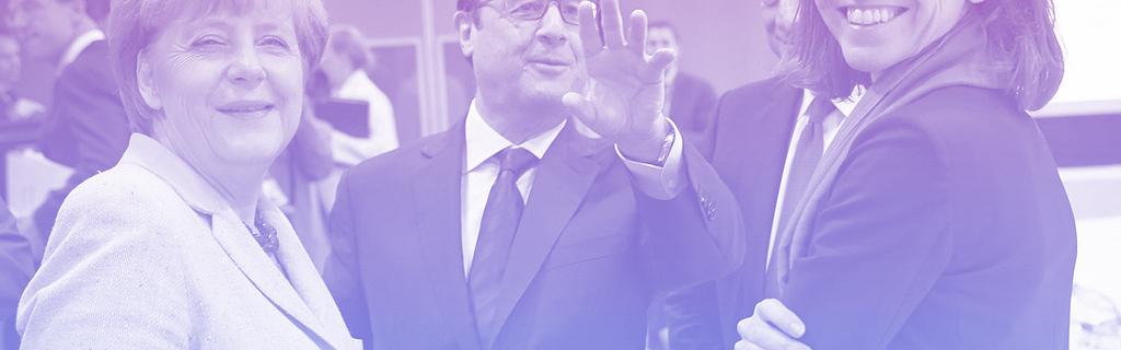 Angela Merkel, François Hollande et Laurence Boone, conseillère économique, à Bruxelles