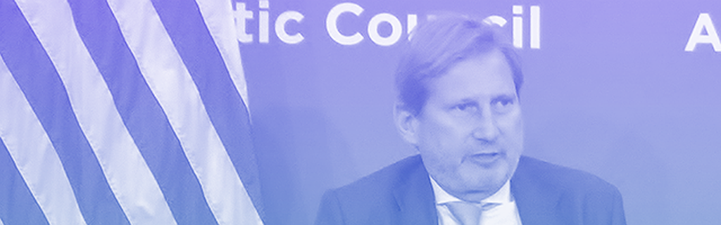 EU Commissioner Johannes Hahn speaking at the Atlantic Council on 4 June