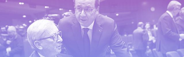 Juncker et Hollande lors d'un sommet européen à Bruxelles