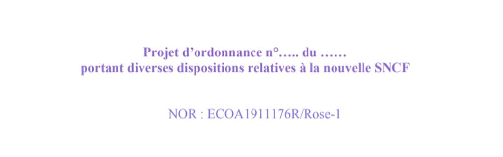 Projet d'ordonnance organisation de la SNCF