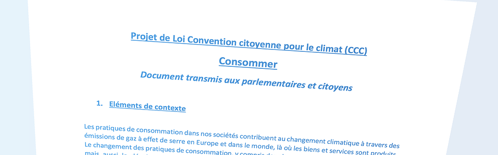Convention citoyenne - GT consommer