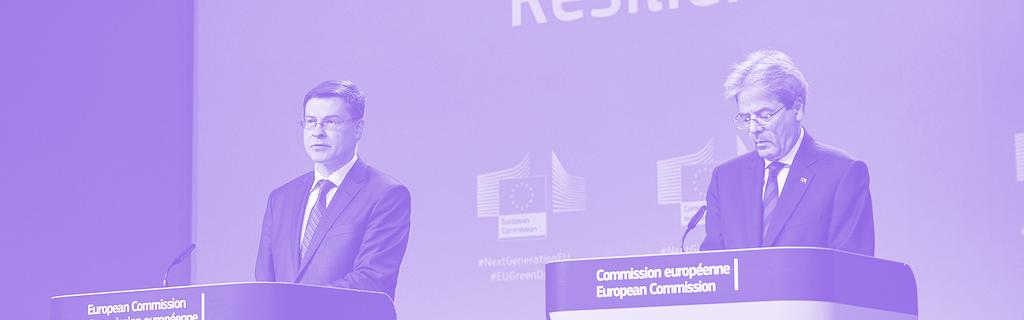 Valdis Dombrovskis et Paolo Gentiloni en mai 2020