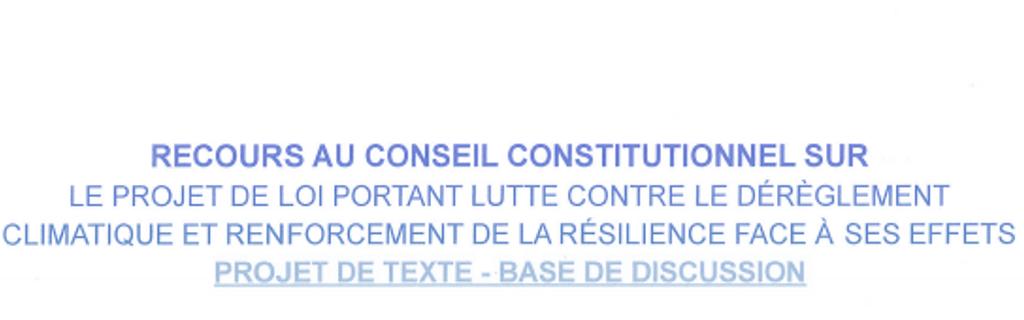 Projet de recours au Conseil Constitutionnel sur la loi CCC