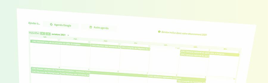 Capture d'écran de l'agenda